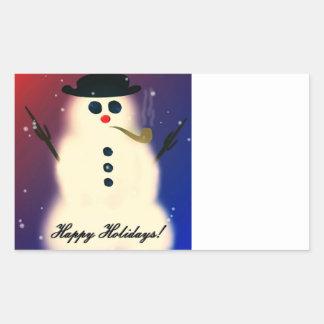 Snowman Rectangular Sticker