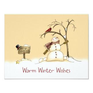 Snowman Red Bird Sleigh Rides Christmas Holidays 11 Cm X 14 Cm Invitation Card