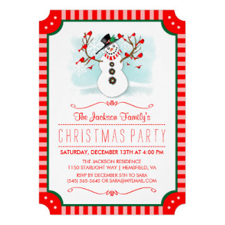 Snowman Amp Red Birds Family Christmas Invite