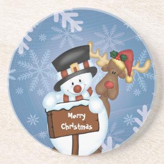 Snowman & Reindeer Beverage Coasters