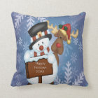 Snowman & Reindeer Cushion