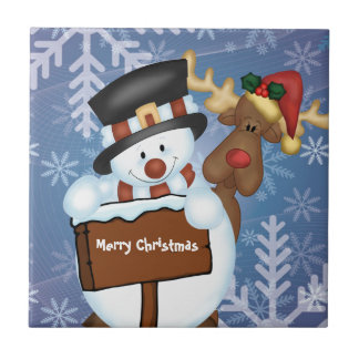 Snowman & Reindeer Customizable Tile