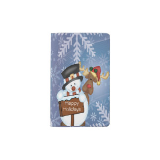Snowman & Reindeer Pocket Moleskine Notebook