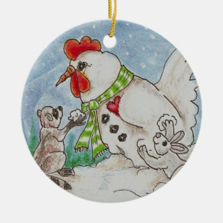 Snowman Rooster, Raccoon and Bunny Wildlife Art Round Ceramic Decoration