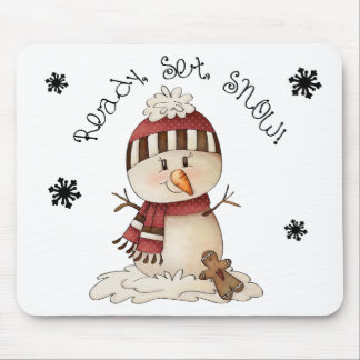 Snowman Rustic Country Primitive Winter Folkart Mouse Pad