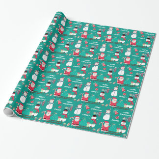 Snowman Santa Kids Personalized Christmas Wrapping Paper