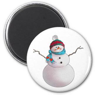 SNOWMAN, SCARF & STOCKING CAP by SHARON SHARPE 6 Cm Round Magnet