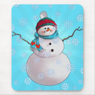 SNOWMAN, SCARF & STOCKING CAP by SHARON SHARPE Mouse Pad