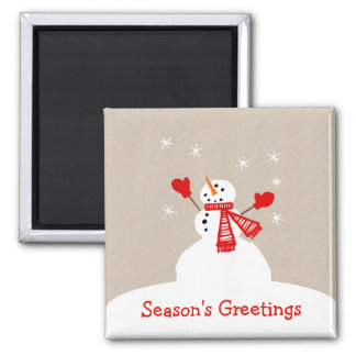 Snowman Season's Greetings Christmas magnet