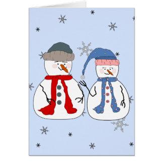 Snowman Siblings Snowmen Children Snow Whimsical Note Card