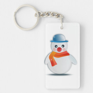 Snowman Single-Sided Rectangular Acrylic Key Ring