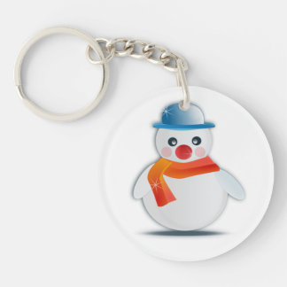 Snowman Single-Sided Round Acrylic Key Ring