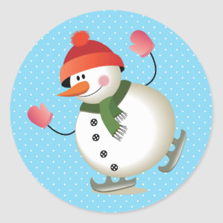 Snowman Skate Glossy Stickers 3 inch (sheet of 6)