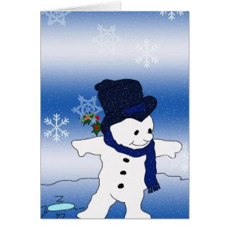 Snowman Skating Card