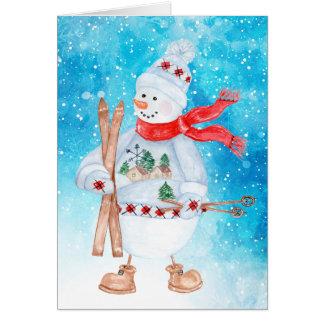 Snowman Skier Christmas Card