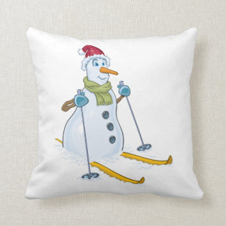 SNOWMAN SKIING HOLIDAY PILLOW CHRISTMAS NEW YEARS