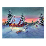 SNOWMAN & SLED by SHARON SHARPE Post Cards