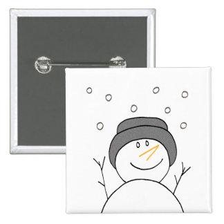 Snowman Smiling 15 Cm Square Badge