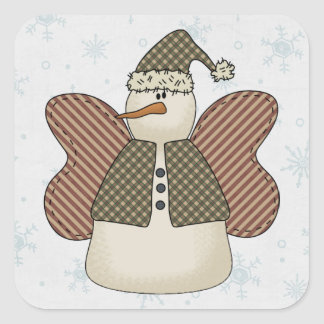 Snowman Snow Angel Square Stickers