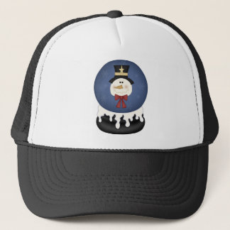 Snowman snow globe trucker hat