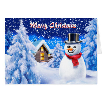 Snowman snow scene cute Christmas note card