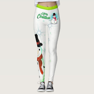 Snowman/Snowflake/Christmas/on White (or your Col) Leggings