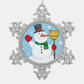Snowman Snowflake Pewter Christmas Ornament