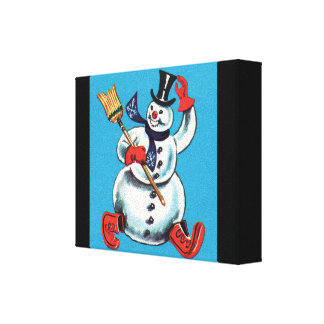 Snowman Snowflake Snow Winter Nature Forest Stretched Canvas Print