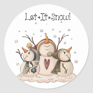 Snowman Snowflake Winter Country Primitive Classic Round Sticker