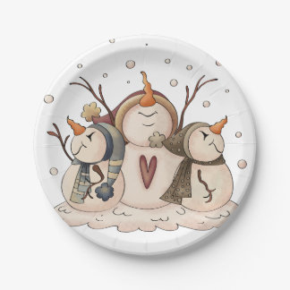 Snowman Snowflake Winter Country Primitive Paper Plate