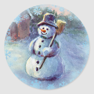 SNOWMAN & SNOWFLAKES by SHARON SHARPE Classic Round Sticker