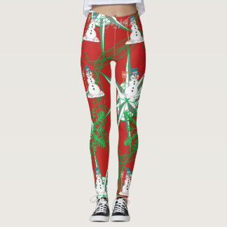 SNOWMAN SNOWFLAKES GREEN ON RED LEGGINGS HAVIC ACD