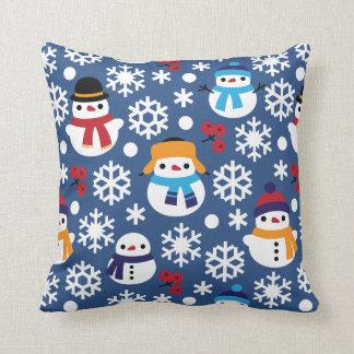 Snowman & Snowflakes Seamless Pattern Cushion