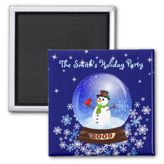 Snowman Snowglobe - Custom Holiday Party Magnet