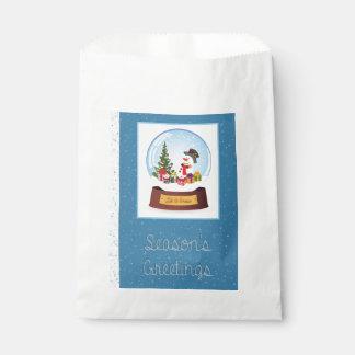 Snowman Snowglobe Greetings Favour Bag