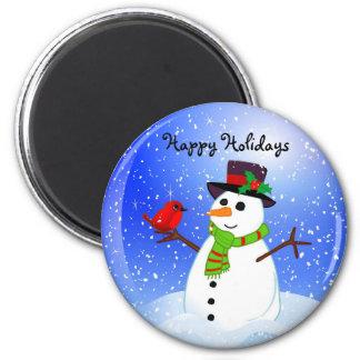 Snowman Snowglobe - Happy Holidays Magnet