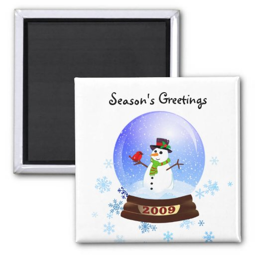 Snowman Snowglobe - Season's Greetings Fridge Magnets