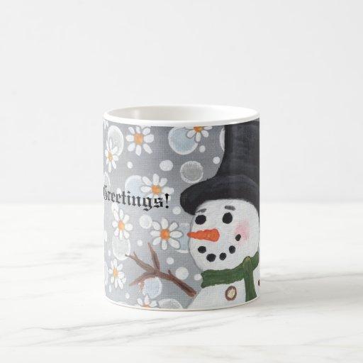 Snowman Snowstorm, Season's Greetings!  ... Mug