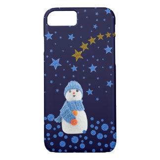 Snowman, sparkly blue stars on blue iPhone 7 case