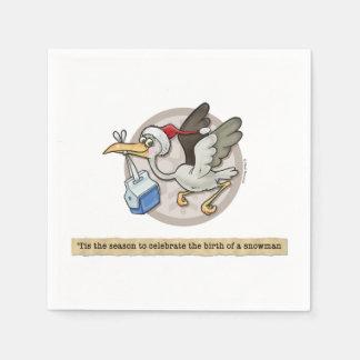 Snowman Stork Delivery Napkins Paper Serviettes