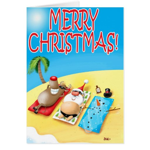Snowman Sunbathing Greeting Card