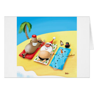 Snowman Sunbathing Card