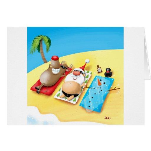 Snowman Sunbathing Greeting Cards