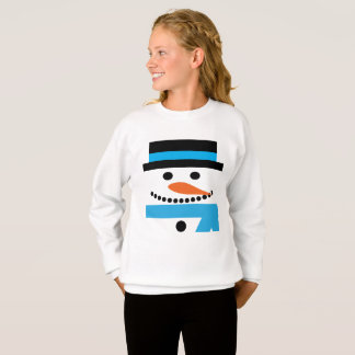 Snowman Sweatshirt with Top Hat and Scarf