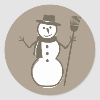 Snowman Taupe Stickers