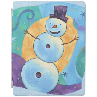 Snowman Tilting in Festive Winter Snow iPad Cover