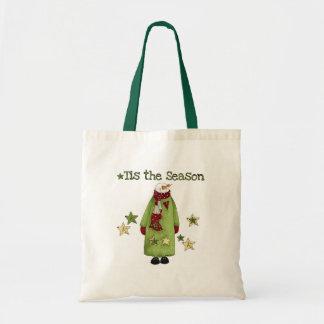 Snowman Tis the Season Canvas Bags