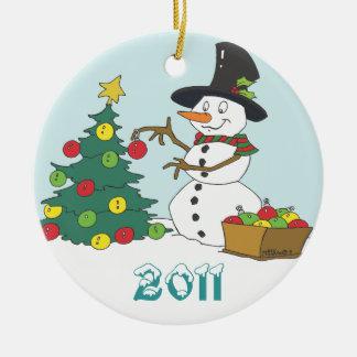 Snowman Trimming Tree Ceramic Ornament