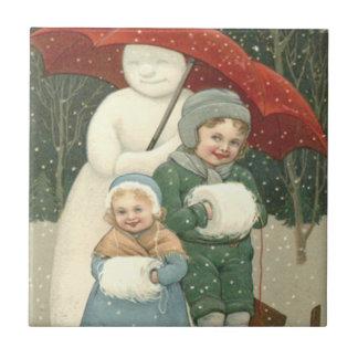 Snowman Umbrella Children Snow Winter Ceramic Tile