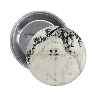 Snowman under a Pine by Taki, Katei Ukiyoe 6 Cm Round Badge